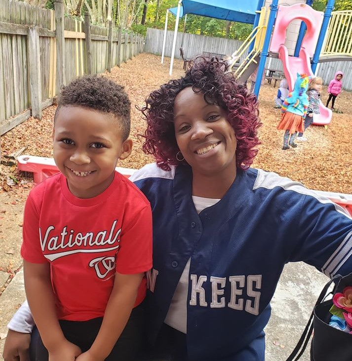 Happy Mom and her little boy having fun in the playground at a Preschool & Daycare Serving Hampton Roads, VA